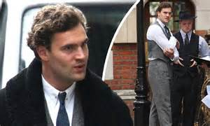 tom bateman hyde new poldark tom bateman in a grey suit as he films