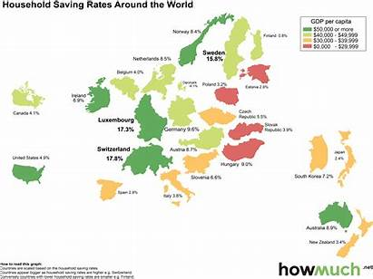 Savings Rate Country Map Around Rates Household