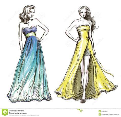 fashion illustration long dress catwalk royalty