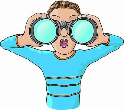 Binoculars Clipart Vector Looking Through Clip Child