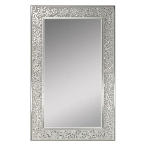silver bathroom mirror lowes shop style selections 20 in x 32 in decorative edge wall