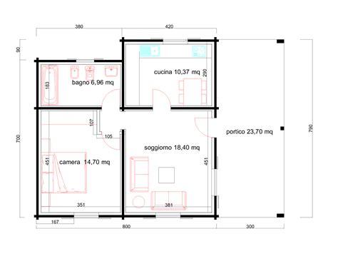 Progetti di case in legno: DIANA 60 MQ + PORTICO 24 MQ