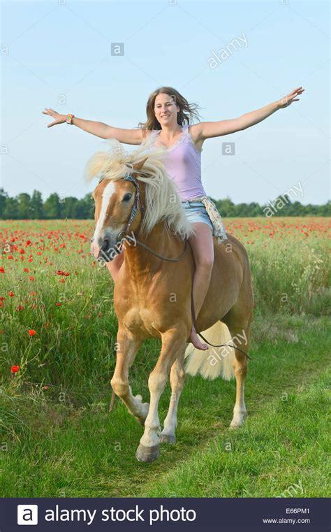 junge frau auf ihrem haflinger pferd ohne sattel reiten