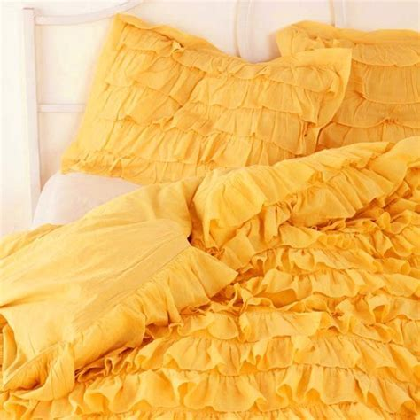 Yellow Waterfall Ruffle Bedding Set