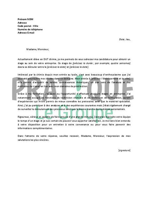 chimie cuisine lettre de motivation pour un stage en dut chimie pratique fr