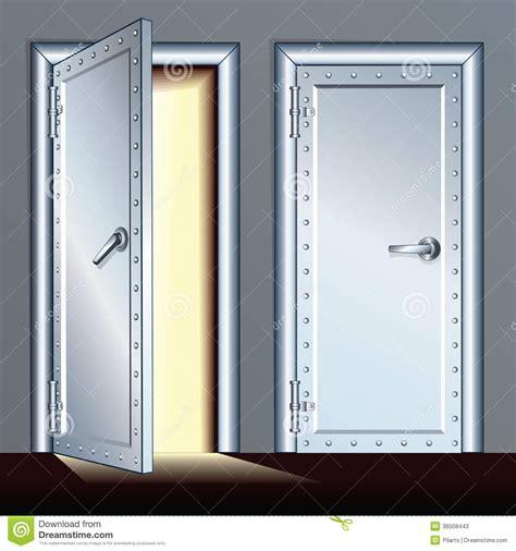 chambre forte porte ouverte et fermée de chambre forte illustration de