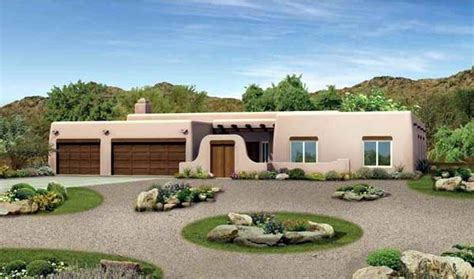 southwest style house plan    bed  bath  car garage courtyard house plans ranch
