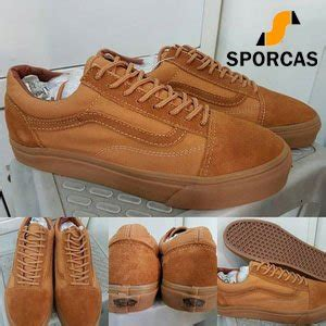 sepatu pria vans skate list coklat jual best seller sepatu kets skate vans skool classics canvas mono brown coklat sporcas