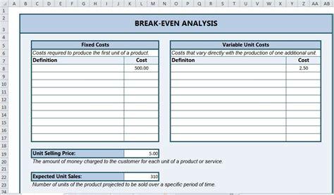 break  analysis excel break  analysis template