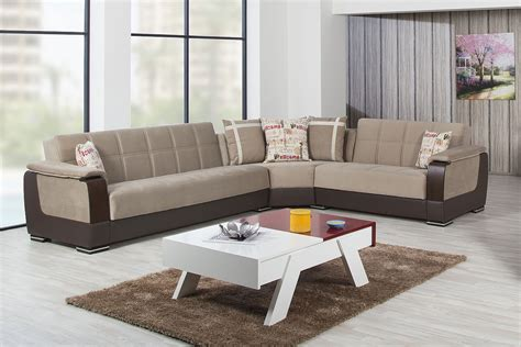 Light Brown Leather Sectional by Modena Golf Light Brown Sectional Sofa By Casamode