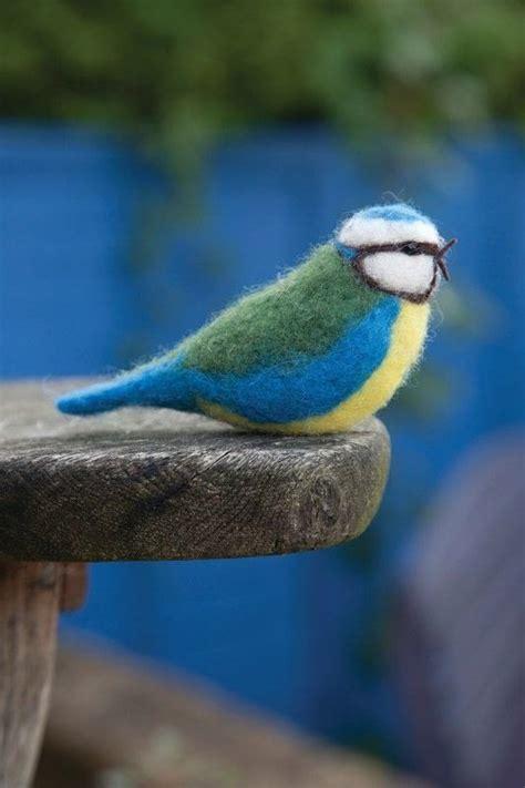 needle felt blue tit     bird plushie
