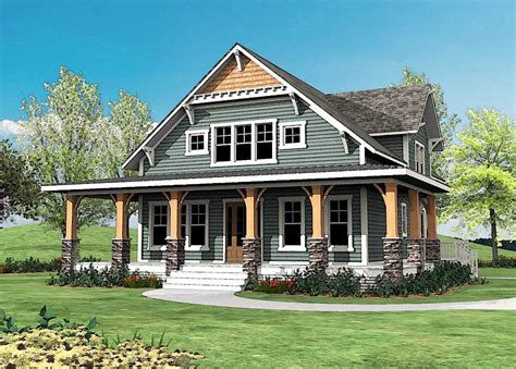 craftsman house plans with porches craftsman with wrap around porch 500015vv architectural
