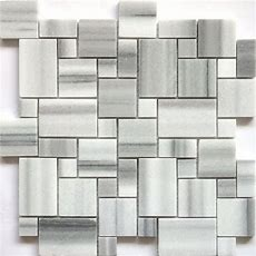 Accent Tile Faber 13in Marble Mosaic Polished White And