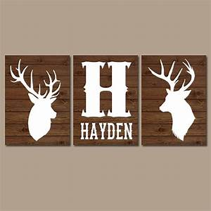 Deer wall art canvas or prints baby boy name rustic country