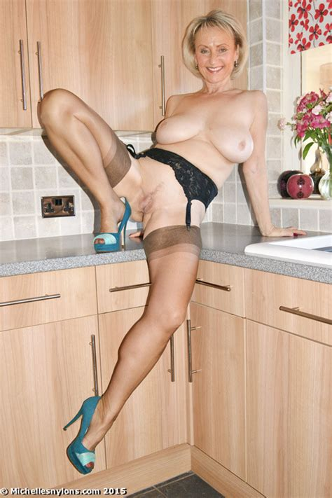 Sexy Milf Michelles Nylons Strips And Sucks A Cock