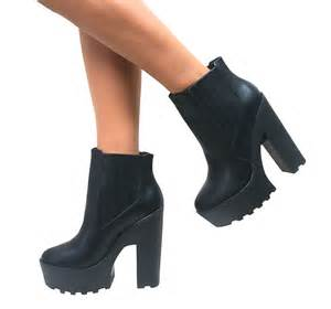 womens platform boots size 12 womens cleated chunky platform sole block heel ankle boots size ebay