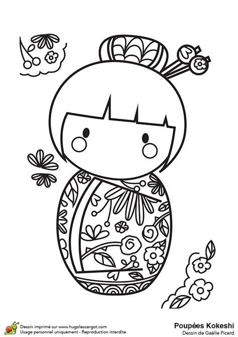 apprendre la cuisine japonaise dessin à colorier poupée kokeshi et roses rouges