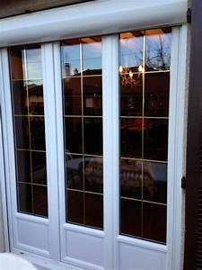 porte fenetre pvc avec croisillons et volet roulant posee With porte d entrée pvc avec fenetre pvc en renovation