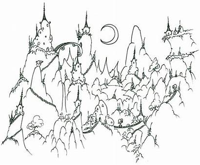 Coloring Mountain Mountains Pages Village