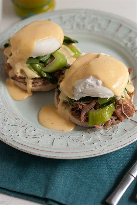 cuisine hollandaise kalua pork eggs benedict with sriracha hollandaise sauce