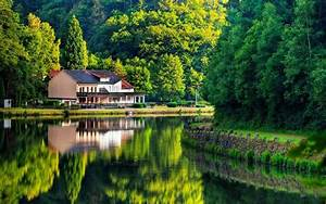 Natural house on lake screen high definition wallpapers ...