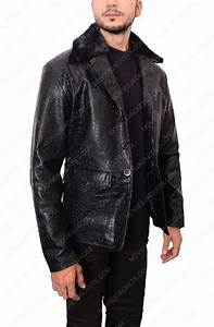 Crocodile Embossed Men Leather Jacket Movies Jacket