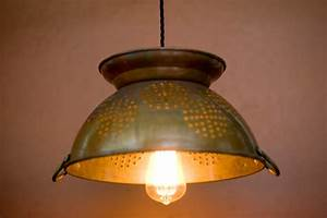 Large copper pendant lighting : Large copper colander pendant light