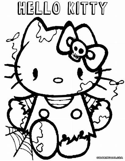 Coloring Halloween Kitty Hello Coloringway Printable Bibaxu