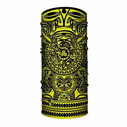 Custom Yellow Tribal Polynesian Face Shields Faceshields