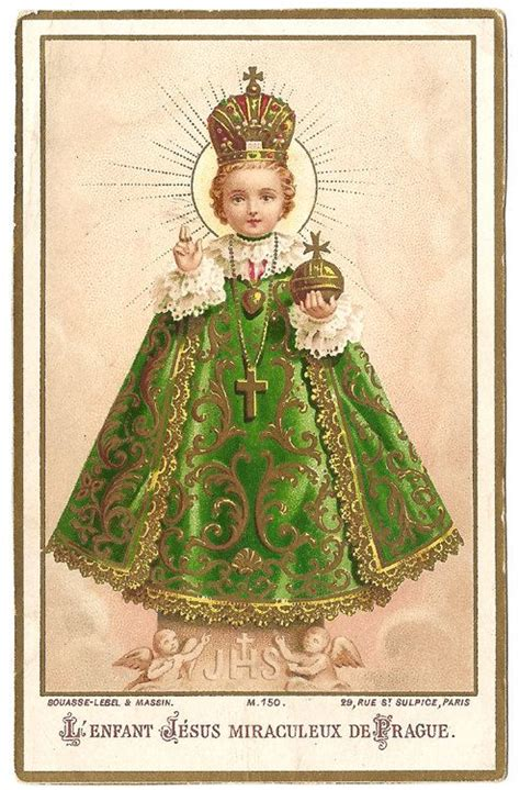 Holy Infant Of Prague Antique French Goldprint By