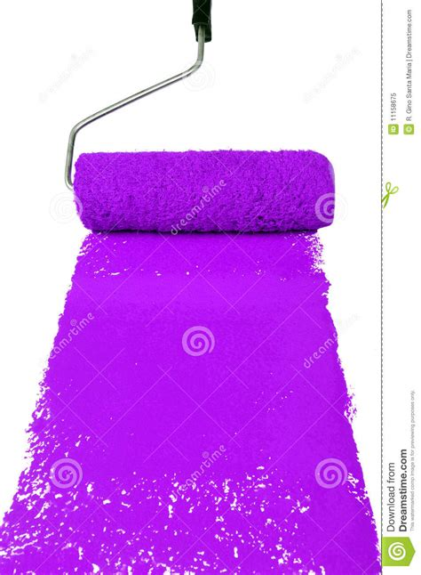 Roller With Purple Paint Stock Image Image Of Color