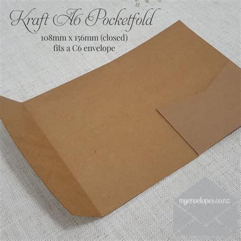 Kraft A6 Pocketfolds Wedding Invitation