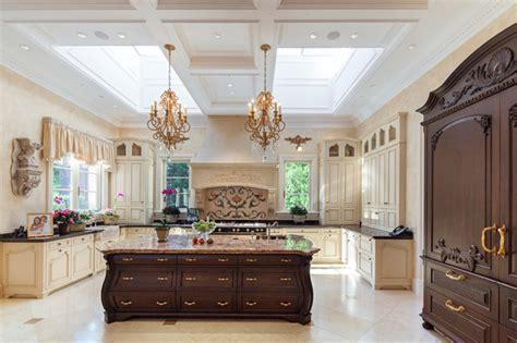 French Chateau Kitchen with antique island, Skylights