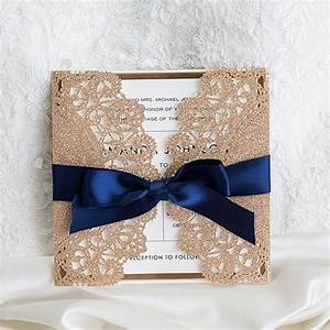 Elegant rose gold and navy blue glitter wedding for Rose gold winter wedding invitations