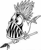 Coloring Piranha Fish Fisch Spear Ausmalbilder Funny Cartoon Clipart Detailed Konabeun Zum Colorir Clip Nemo Gambar Easy Ikan Kartun Nativa sketch template