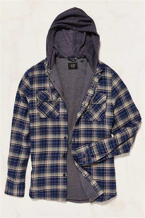 globe alfred hooded flannel button  shirt  blue