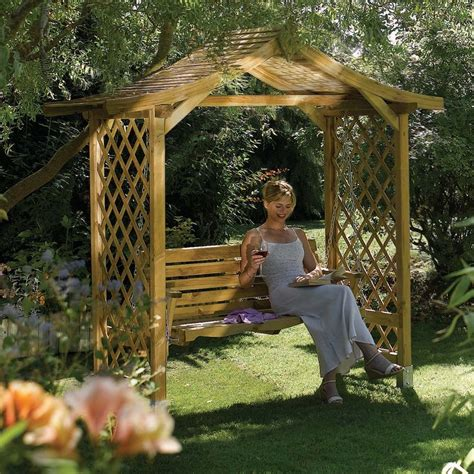 Lattice Sided  Ee  Wooden Ee   Garden Swing Arbour Seat From