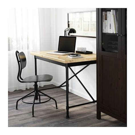 bureau pc ikea kullaberg desk pine black 110x70 cm industrial pine and
