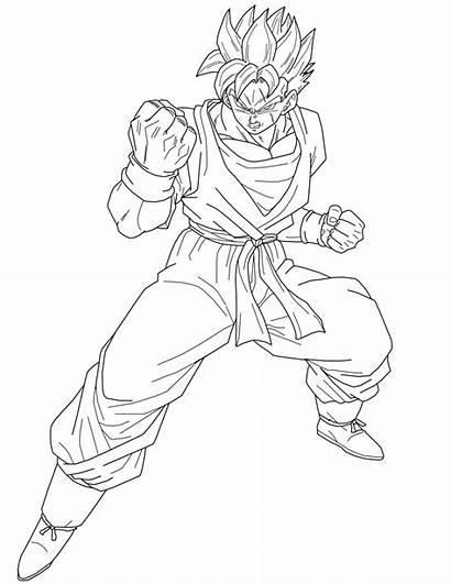 Gohan Coloring Future Saiyan Lineart Dragon Ball