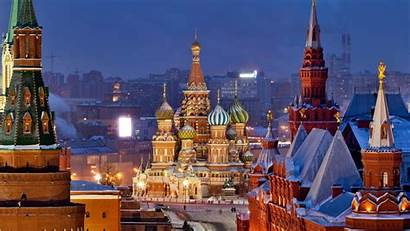 Moscow Russia Winter Snow Square Street Capital