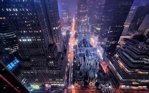 New York city night view, street, buildings, skyscrapers ...