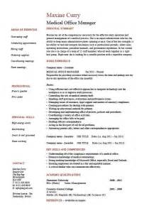 medical office manager resume template exle cv