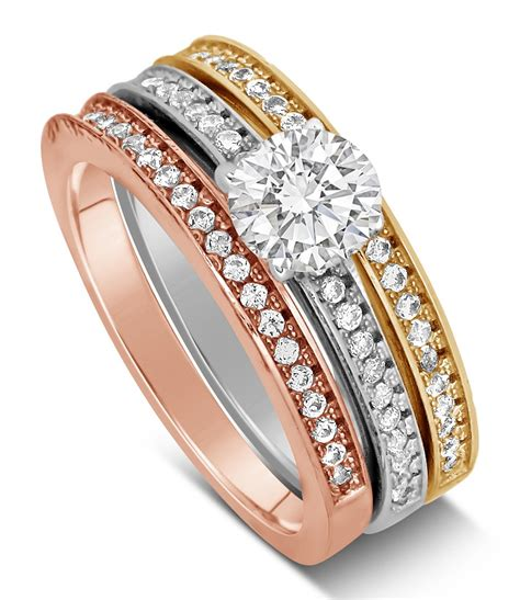 2 carat cut tri color white rose and yellow gold trio wedding ring jeenjewels