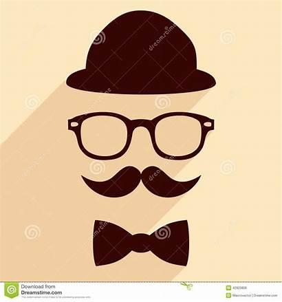 Hipster Hat Mustache Glasses Bow Tie Illustrazione