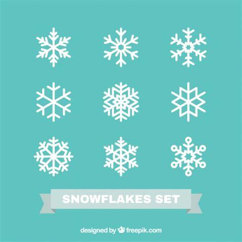 Cetakan Salju Frozen Stencil snowflakes set in flat design vector free