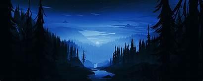 Minimal Dark Night Forest River Wide Background