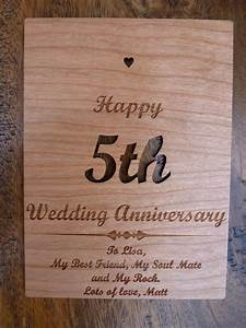 wooden 5th wedding anniversary card personalised gifts With 5th year wedding anniversary