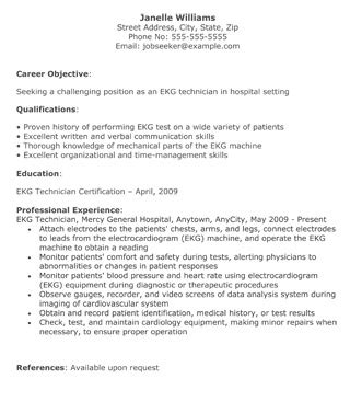 ekg technician resume  resume template site