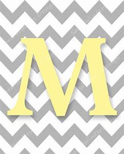 Chevron Monogram Digital Print - Gray and Yellow Letter M ...