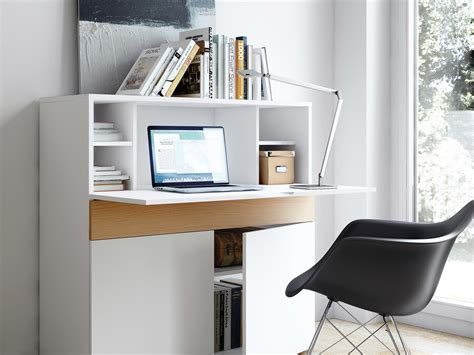 bureau de secretaire bureau secrétaire en bois placage chêne et blanc mat